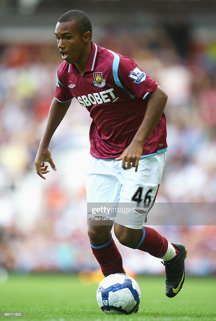 Junior Stanislas of West Ham United in action during the Bobby Moore Cup between West Ham United and Napoli at Upton Park on August 8 2009 in London...