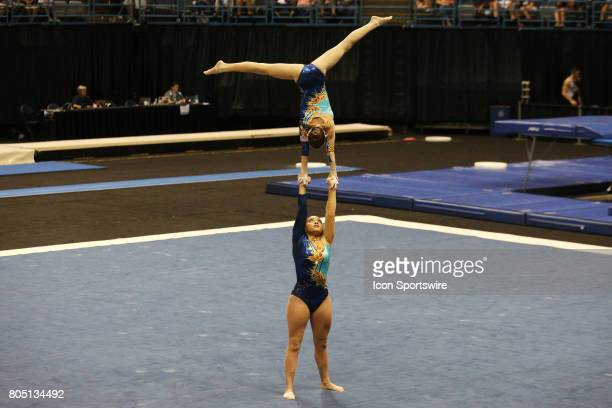 Junior Women's Pairs Samantha Conway and Lally Seither perform their Acrobatic Balance routine during the USA Gymnastic Championships at the BMO...