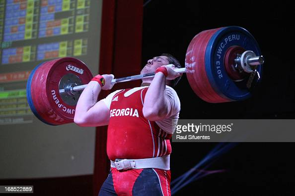 Junior World Champion Lasha Talakhadze of Georgia competes in Men's 105kg A during day seven of the 2013 Junior Weightlifting World Championship at...