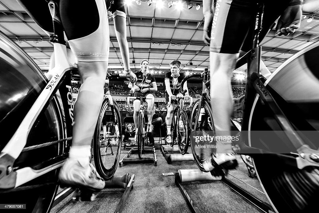 Juniors warm up prior to racing during Revolution 5 at the Lee Valley VeloPark on March 15, 2014 in London, England.