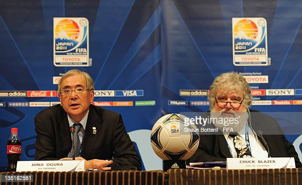 Junji Ogura Japan Football Association President and Chuck Blazer Chairman of the Organising Committee for the FIFA Club World Cup talk to the media...