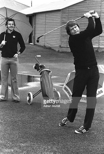 Gordon Brown and Bill Beaumont of the Lions play golf on a break during the British Lions tour to New Zealand Mandatory Credit Adrian Murrell/Allsport