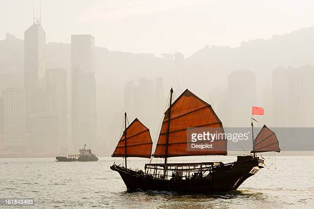 Junk Boat in Victoria Harbour Hong Kong