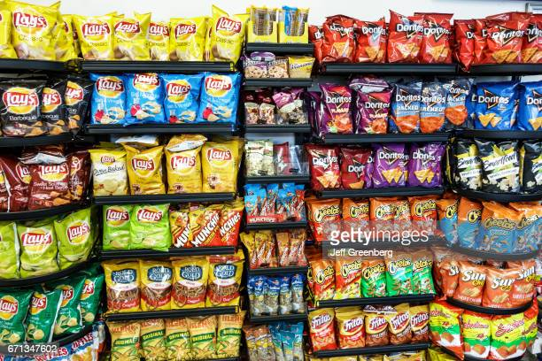Junk food for sale in a convenience store at Canoe Creek Service Plaza