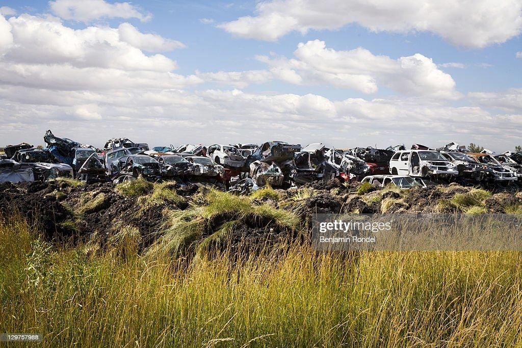 Junk yard in field : Stock Photo