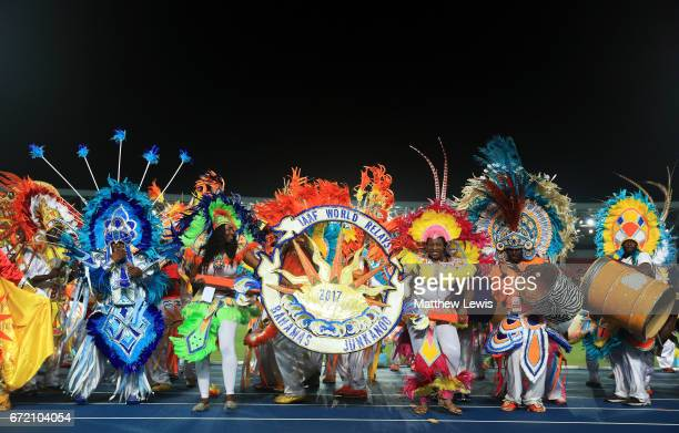 Junkanoo dancers perform after the IAAF/BTC World Relays Bahamas 2017 at Thomas Robinson Stadium on April 23 2017 in Nassau Bahamas