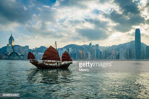HK Junkboat sailing along Hong Kong Skyline