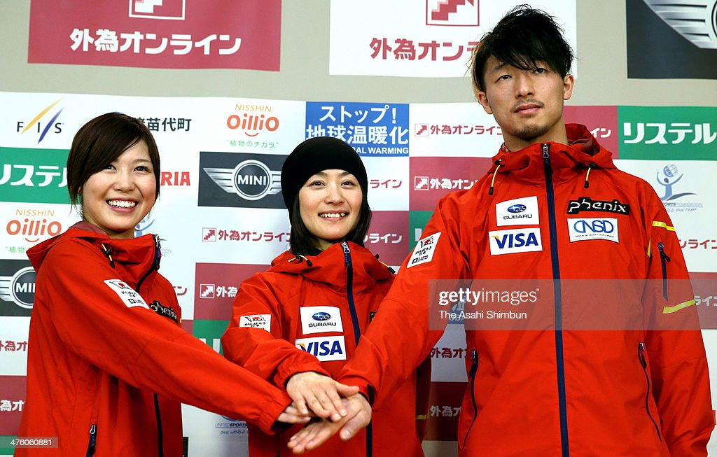 Junko Hoshino Aiko Uemura and Sho Endo of Japan pose for photographs during the official press conference ahead of the 2014 FIS Freestyle Ski World...