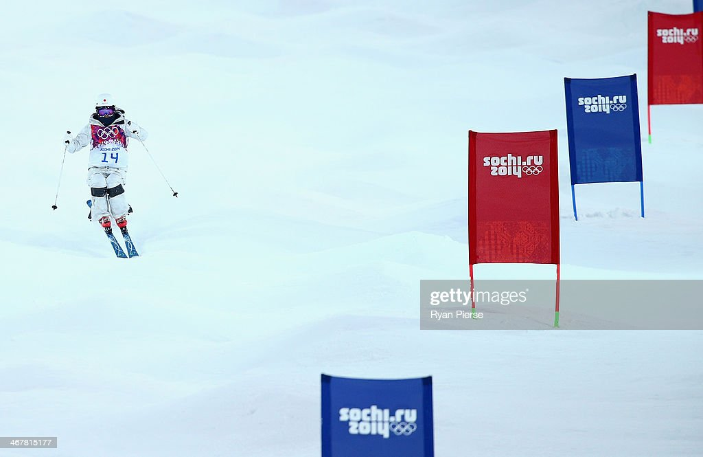 Junko Hoshino of Japan competes during Ladies' Moguls Qualification during day 1 of the Sochi 2014 Winter Olympics at Rosa Khutor Extreme Park on...