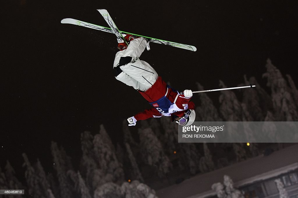 Junko Hoshino of Japan competes during the men's dual moguls at the FIS Freestyle Ski World Cup season opener in Ruka Kuusamo Finland on December 13...