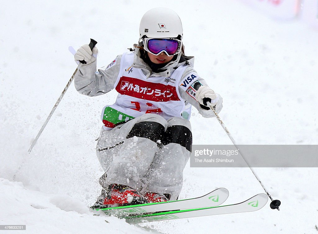 Junko Hoshino of Japan competes in the Ladies Dual Moguls during the 2014 FIS Freestyle Ski World Cup Inawashiro at Listel Inawashiro on March 2 2014...