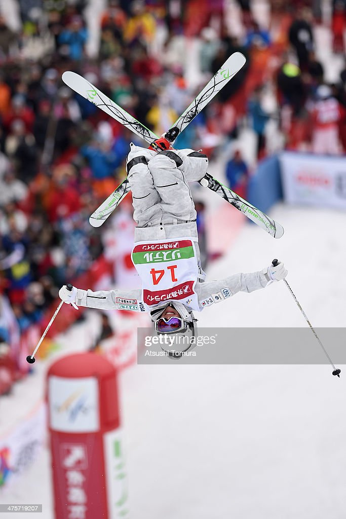 Junko Hoshino of Japan competes in the Ladie's Moguls final during the 2014 FIS Free Style Ski World Cup Inawashiro at Listel Inawashiro on March 1...
