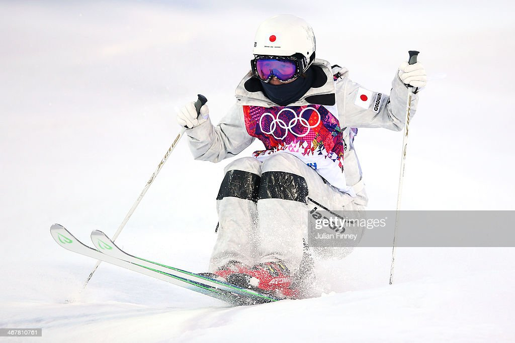 Junko Hoshino of Japan competes in the Ladies' Moguls Qualification during day 1 of the Sochi 2014 Winter Olympics at Rosa Khutor Extreme Park on...