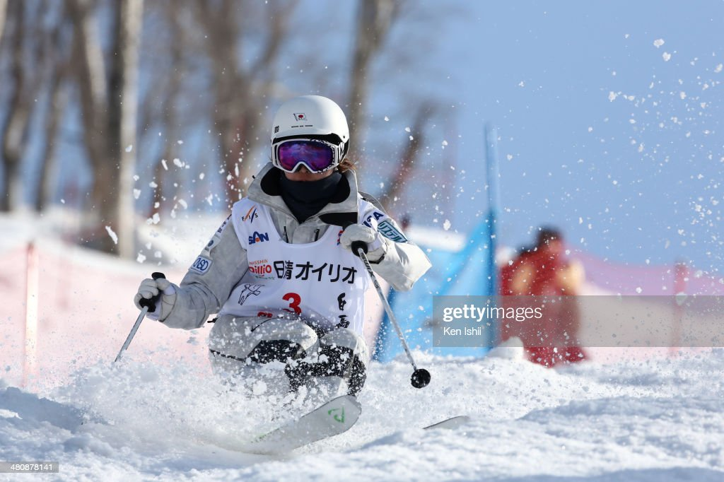 Junko Hoshino of Japan competes in the Women's Finals of the All Japan Freestyle Ski Championships at the Hakuba 47 Winter Sports Park on March 27...
