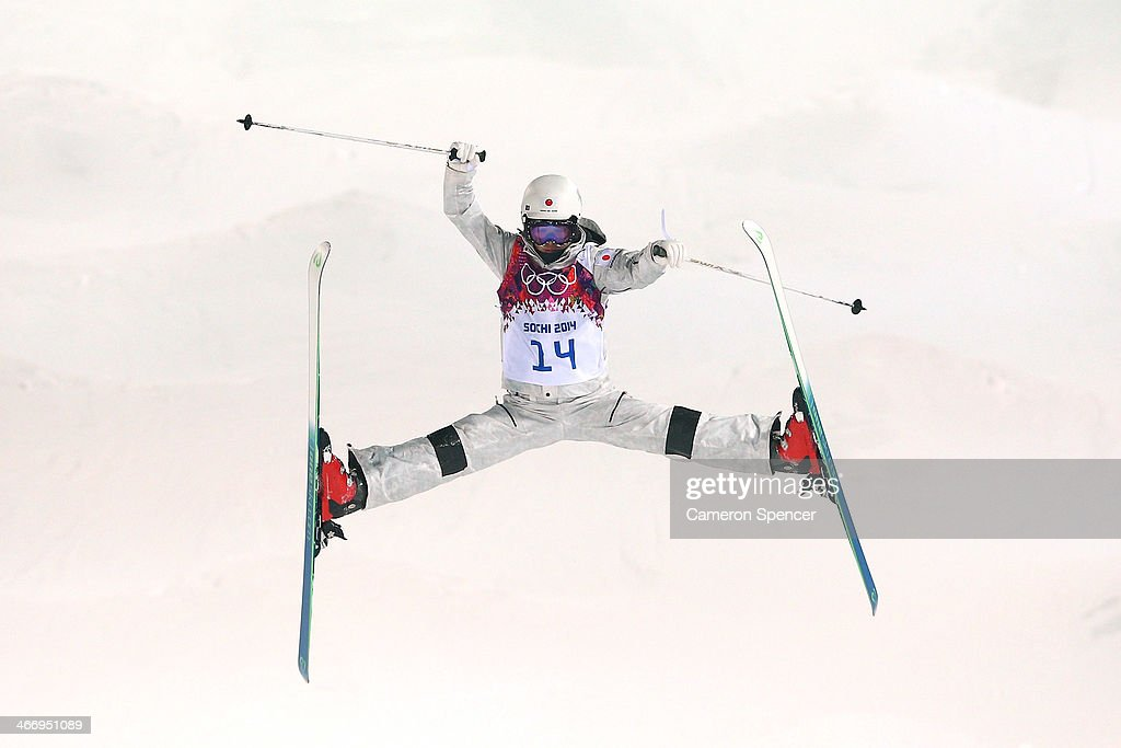 Junko Hoshino of Japan trains during moguls practice at the Extreme Park at Rosa Khutor Mountain ahead of the Sochi 2014 Winter Olympics on February 5, 2014 in Sochi, Russia