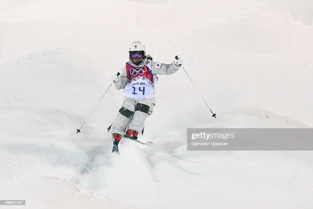 Junko Hoshino of Japan trains during moguls practice at the Extreme Park at Rosa Khutor Mountain ahead of the Sochi 2014 Winter Olympics on February...