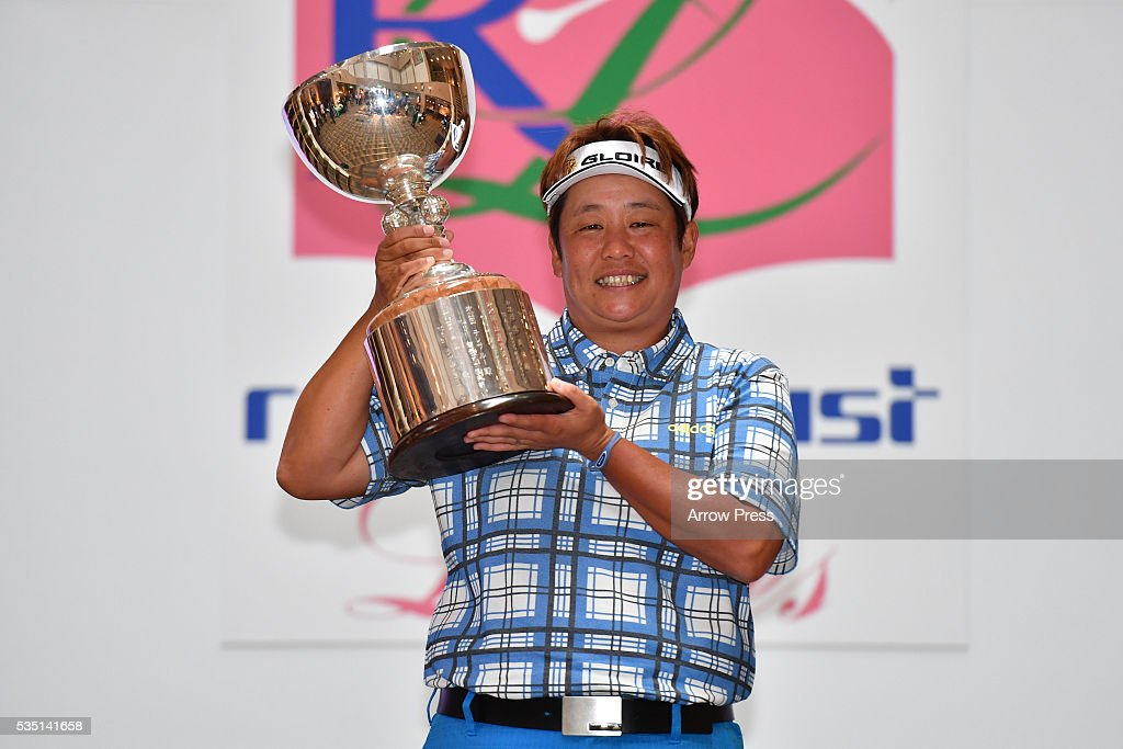 <a gi-track='captionPersonalityLinkClicked' href=/galleries/search?phrase=Junko+Omote&family=editorial&specificpeople=7313653 ng-click='$event.stopPropagation()'>Junko Omote</a> of Japan poses with the trophy after winning the during the Final round of the Resorttrust Ladies at the Grandee Naruto Golf Club XIV on May 29, 2016 in Naruto, Japan.