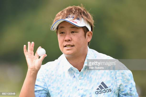 Junko Omote of Japan reacts on the 1st green during the final round of the Yonex Ladies Golf Tournament 2016 at the Yonex Country Club on June 4 2017...