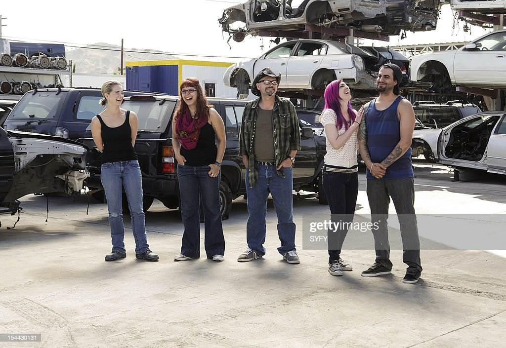 OFF -- 'Junkyard Cyborg' Episode 309 -- Pictured: (l-r) Contestants Laura Tyler, Sarah Elizabeth, Roy Wooley, Nicole Chilelli, Eric Garcia --