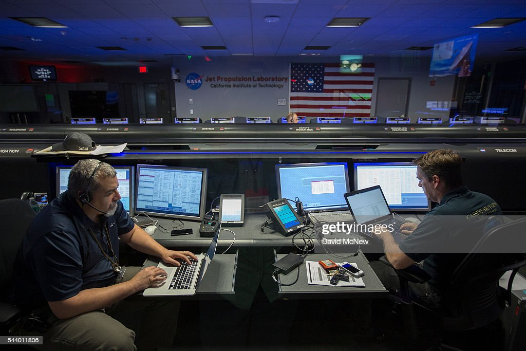 Juno Mission Manager Ed Hirst (L) and Phase Lead Kevin Barltrop are seen in the mission control room of the JPL Space Flight Operations Facility at JPL as NASA officials and the public look forward to the Independence Day arrival of the the Juno spacecraft to Jupiter, at JPL on June 30, 2016 in Pasadena, California. After having traveling nearly 1.8 billion miles over the past five years, the NASA Juno spacecraft will arrival to Jupiter on the Fourth of July to go enter orbit and gather data to study the enigmas beneath the cloud tops of Jupiter. The risky $1.1 billion mission will fail if it does not enter orbit on the first try and overshoots the planet.