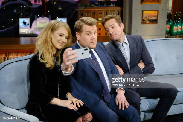Juno Temple and Armie Hammer chat with James Corden during 'The Late Late Show with James Corden' Wednesday November 29 2017 On The CBS Television...