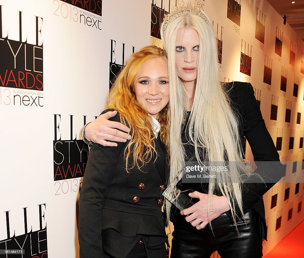 Juno Temple (L) and Kristen McMenamy, accepting the Contemporary Brand of the Year award on behalf of McQ Alexander McQueen, pose in the press room at the Elle Style Awards at The Savoy Hotel on February 11, 2013 in London, England.