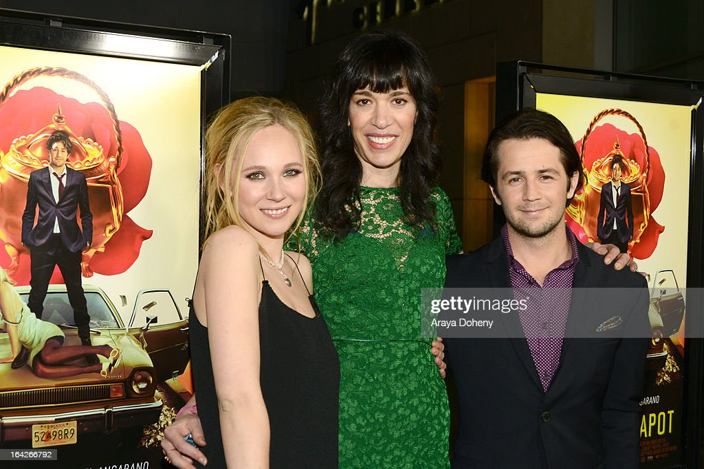 <a gi-track='captionPersonalityLinkClicked' href=/galleries/search?phrase=Juno+Temple&family=editorial&specificpeople=4692912 ng-click='$event.stopPropagation()'>Juno Temple</a>, Ramaa Mosley and <a gi-track='captionPersonalityLinkClicked' href=/galleries/search?phrase=Michael+Angarano&family=editorial&specificpeople=226743 ng-click='$event.stopPropagation()'>Michael Angarano</a> arrive at the LA screening of Magnolia Pictures' 'The Brass Teapot' at ArcLight Hollywood on March 21, 2013 in Hollywood, California.