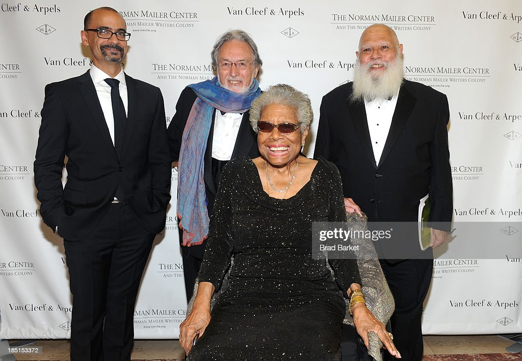 Junot Diaz, <a gi-track='captionPersonalityLinkClicked' href=/galleries/search?phrase=Lawrence+Schiller&family=editorial&specificpeople=1515219 ng-click='$event.stopPropagation()'>Lawrence Schiller</a>, Samuel Delany and Dr. <a gi-track='captionPersonalityLinkClicked' href=/galleries/search?phrase=Maya+Angelou&family=editorial&specificpeople=772742 ng-click='$event.stopPropagation()'>Maya Angelou</a> attend the Norman Mailer Center's Fifth Annual Benefit Gala sponsored by Van Cleef & Arpels on October 17, 2013 in New York City.