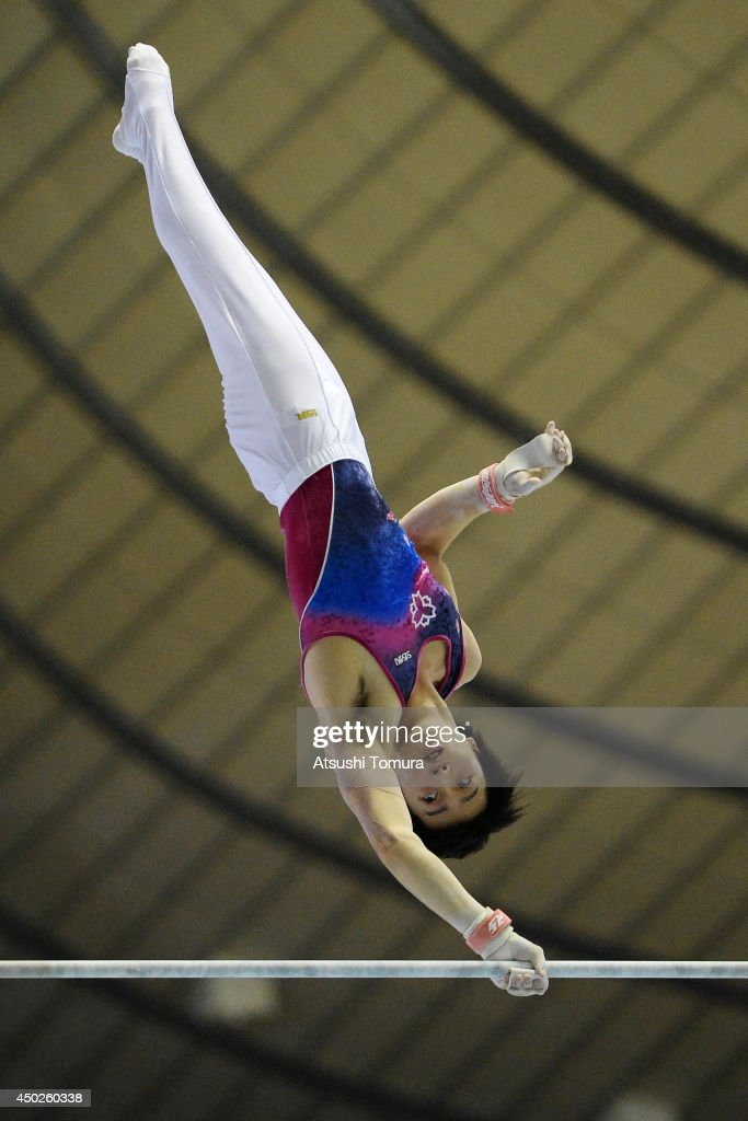 Junpei Oka of Japan competes on the High Bar during day two of the Artistic Gymnastics NHK Trophy at Yoyogi National Gymnasium on June 8, 2014 in Tokyo, Japan.