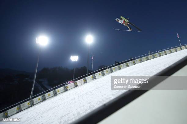 Junshiro Kobayashi of Japan jumps during trainining for the 2017 FIS Ski Jumping World Cup test event For PyeongChang 2018 at Alpensia Ski Jumping...