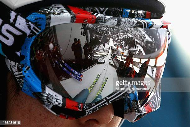 Junshiro Kobayashi of Japan looks on prior the training round for the FIS Ski Jumping World Cup event of the 60th Four Hills ski jumping tournament...