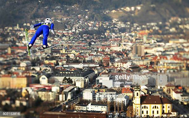 Junshiro Kobayashi of Japan soars over Innsbruck during his qualification jump on Day 1 of the Innsbruck Four Hills Tournament on January 2 2016 in...