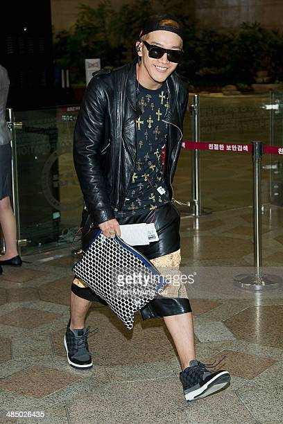 Junsu of South Korean boy band 2PM is seen on departure at Gimpo International Airport on April 15 2014 in Seoul South Korea