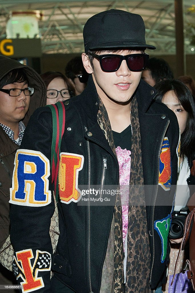 Junsu (Jun. K) of South Korean boy band 2PM is seen on departure iat Incheon International Airport on March 29, 2013 in Incheon, South Korea.