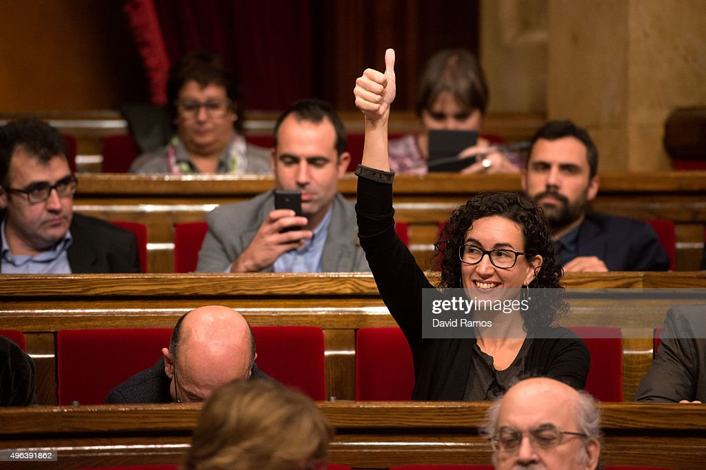 Junts Pel Si member of the Catalan Parliament Marta Rovira gives his thumbs up as she votes to pass the start of the independence process on November...