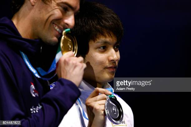 Junya Koga of Japan celebrates his Silver Medal in the Men's 50m Backstroke Final on day seventeen of the Budapest 2017 FINA World Championships on...