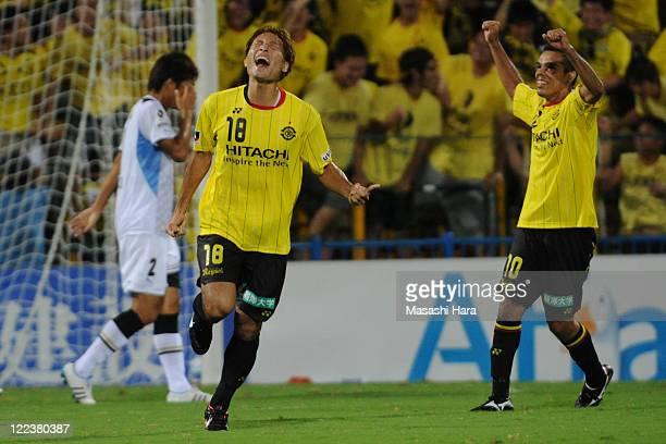 Junya Tanaka of Kashiwa Reysol celebrates their third goal during the JLeague second division match between Kashiwa Reysol and Kawasaki Frontale at...