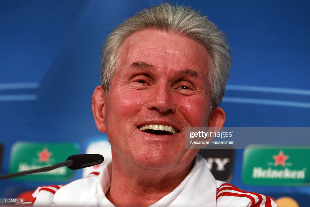 Jupp Henyckes, head coach of FC Bayern Muenchen smiles during a press conference at Allianz Arena on April 16, 2012 in Munich, Germany. Bayern Muenchen will play against Real Madrid at the UEFA Champions League semi final first leg match on April 17, 2012 in Munich, Germany.