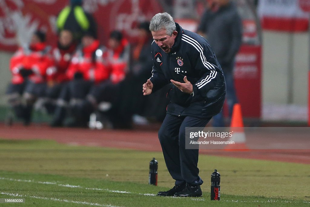 Jupp Henyckes, head coach of Muenchen reacts during the Bundesliga match between 1. FC Nuernberg and FC Bayern Muenchen at Easy Credit Stadium on November 17, 2012 in Nuremberg, Germany.