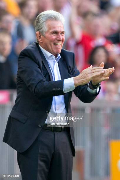 Jupp Heynckes coach of Muenchen celebrates his teams first goal during the Bundesliga match between FC Bayern Muenchen and SportClub Freiburg at...