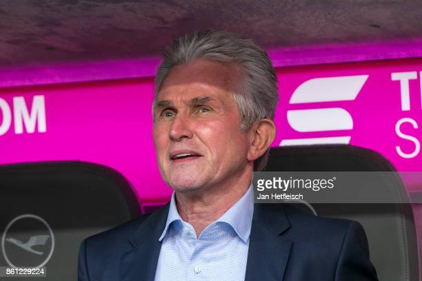 Jupp Heynckes coach of Muenchen during the Bundesliga match between FC Bayern Muenchen and SportClub Freiburg at Allianz Arena on October 14 2017 in...