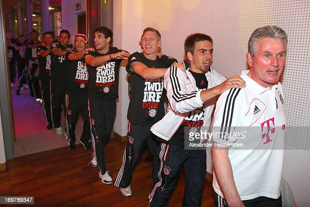 Jupp Heynckes head coach of Bayern Muenchen arrives with his palyers for the FC Bayern Muenchen Champions party after winning the German DFB Cup...