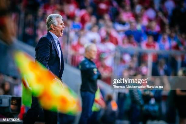 Jupp Heynckes head coach of Bayern Muenchen is seen during the Bundesliga match between FC Bayern Muenchen and SportClub Freiburg at Allianz Arena on...