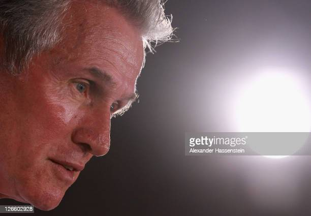 Jupp Heynckes head coach of Bayern Muenchen looks on during a Bayern Muenchen press conference at Bayern's trainings ground 'Saebener Strasse' ahead...