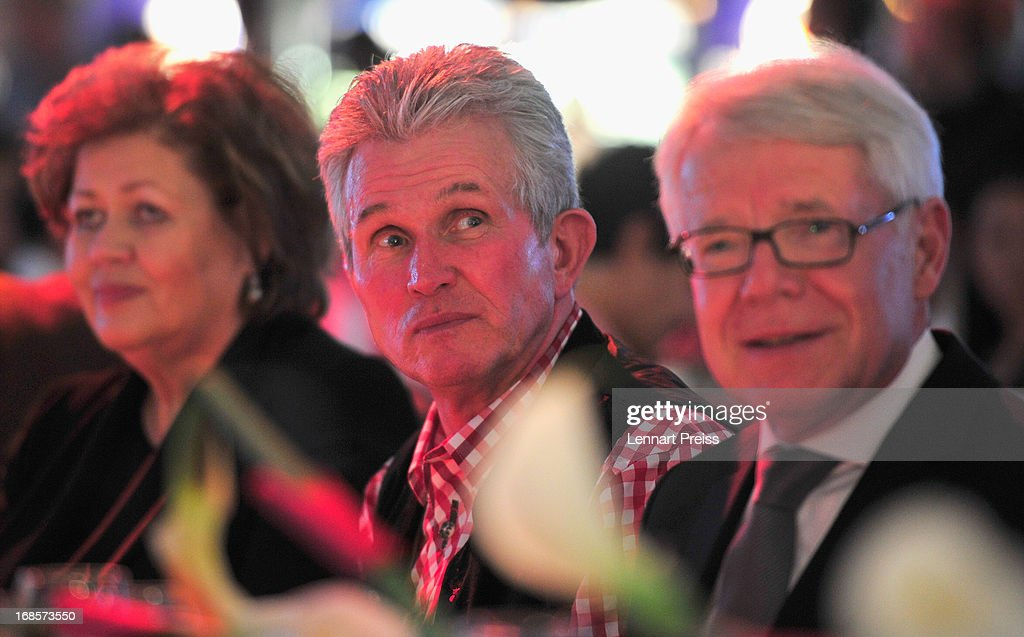 Jupp Heynckes (L), head coach of Bayern Muenchen, sits next to Reinhard Rauball, President of the German League Association, during the Official Champion dinner of Bayern Muenchen at Postpalast on May 12, 2013 in Munich, Germany.