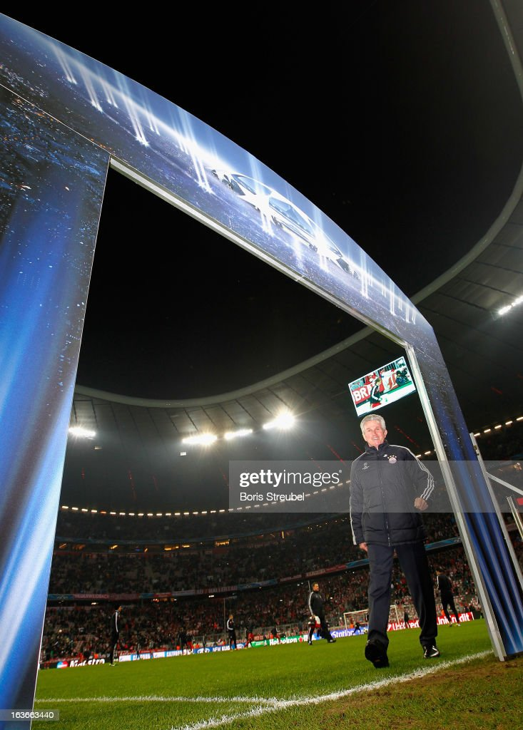 Jupp Heynckes, head coach of Bayern Munich looks on prior to the UEFA Champions League Round of 16 second leg match between Bayern Muenchen and Arsenal FC at Allianz Arena on March 13, 2013 in Munich, Germany.