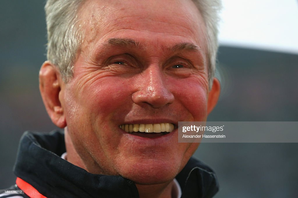 <a gi-track='captionPersonalityLinkClicked' href=/galleries/search?phrase=Jupp+Heynckes&family=editorial&specificpeople=2062040 ng-click='$event.stopPropagation()'>Jupp Heynckes</a>, head coach of FC Bayern Muenchen smiles prior to the Bundesliga match between FC Bayern Muenchen and Hamburger SV at Allianz Arena on March 30, 2013 in Munich, Germany.