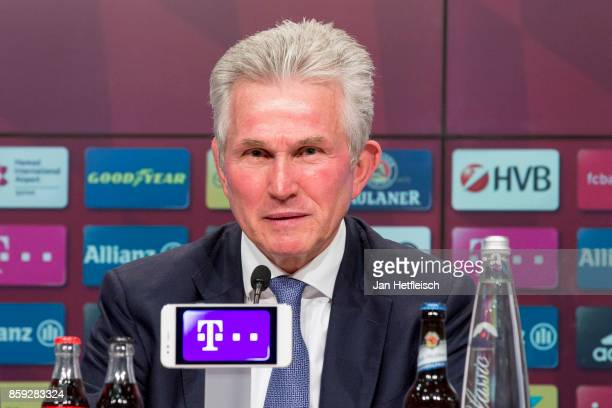Jupp Heynckes head coach of FC Bayern Muenchen speaks to the media during a Bayern Muenchen press conference at the Alianz Arena in Munich on October...