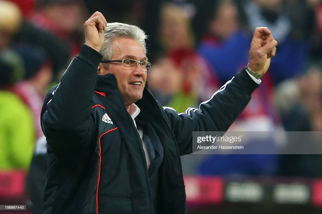 Jupp Heynckes, head coach of Muenchen celebrates the 4th team goal during the Bundesliga match between FC Bayern Muenchen and Hannover 96 at Allianz Arena on November 24, 2012 in Munich, Germany.