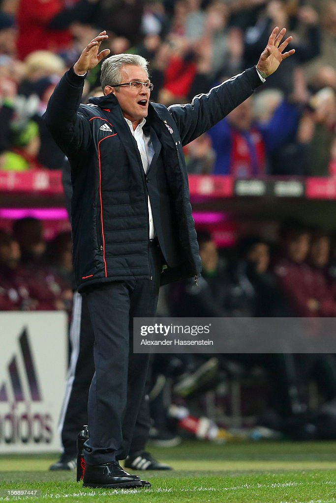 <a gi-track='captionPersonalityLinkClicked' href=/galleries/search?phrase=Jupp+Heynckes&family=editorial&specificpeople=2062040 ng-click='$event.stopPropagation()'>Jupp Heynckes</a>, head coach of Muenchen celebrates the 4th team goal during the Bundesliga match between FC Bayern Muenchen and Hannover 96 at Allianz Arena on November 24, 2012 in Munich, Germany.